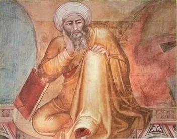 Averroes, detail of the fourteenth-century Florentine artist Andrea Bonaiuto's Triunfo de Santo Tomás.